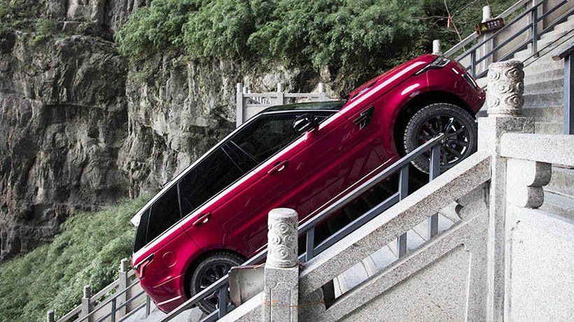 The Range Rover climbed 999 steps